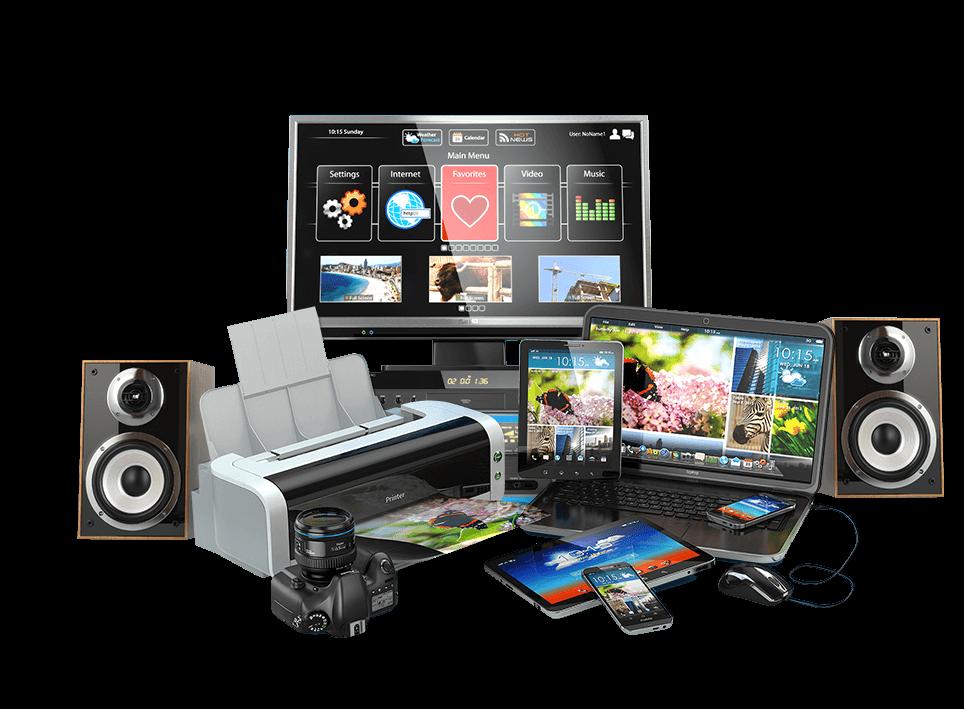 Moniteur, ordinateur, tablettes, ordinateur portable, imprimante, téléphones portables, appareil photo, imprimante, haut-parleurs et souris
